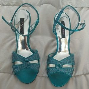 Teal Dress Stapy Heels